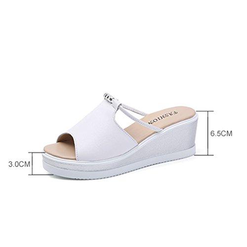 Mujeres Zapatos La Las Respirables Abierta Salvajes Nuevo Salvajes Sandalias De Moda Del Fuente Dyfymx Blanco Verano aOgqPtxw