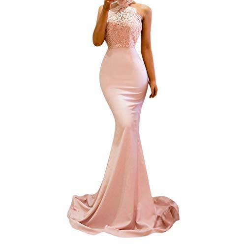 JJLIKER Women's Lace Appliques Halter Floor-Length Long Mermaid Evening Elegant Formal Skirt Wedding Prom Dress Mermaid Pink