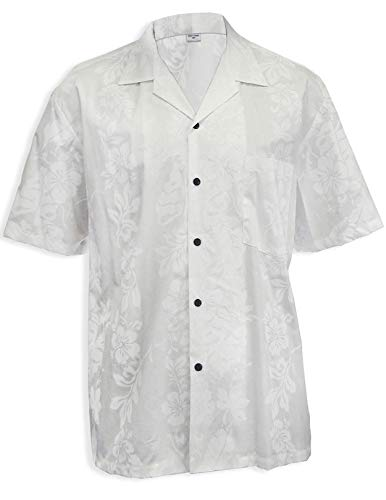 Wedding Hibiscus Panel Aloha Shirt, White, 2XL (Best Beach Wedding Attire)