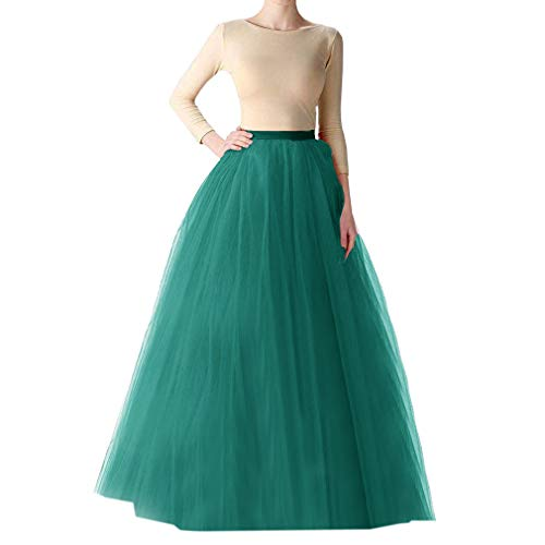 WDPL Long Tutu Tulle Skirt A Line Bridesmaid Skirts (Small, Peacock Green)