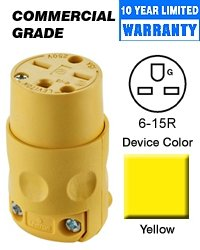 Leviton 615CV Connector, 6-15R 15 Amp 250 Volt Commercial Office Grade - Yellow (Package of 10) by Leviton