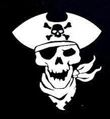 [Pirate Skeleton Decal Vinyl Sticker|Cars Trucks Vans Walls Laptop| WHITE |5.5 x 5 in|CCI816] (Somali Pirate Costume)