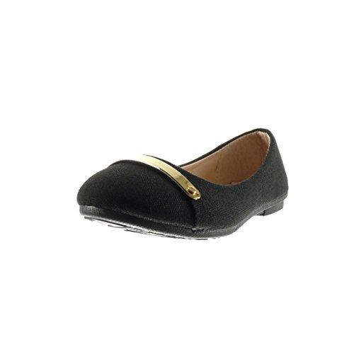 Angkorly - damen Schuhe Ballerina - Slip-On - metallisch - Geflochten flache Ferse 1 CM - Schwarz