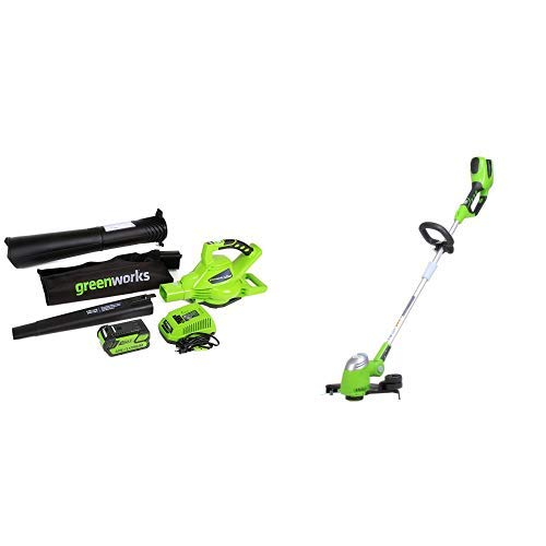 (Greenworks 40V 185 MPH Variable Speed Cordless Blower Vacuum, 4.0 AH Battery Included 24322 with  13-Inch 40V Cordless String trimmer/Edger, Battery Not Included 21332)