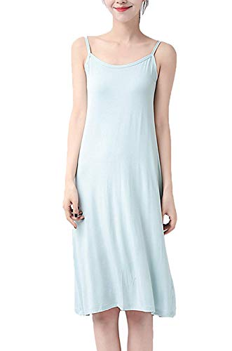 (XUJI Women's Cotton Basic Strap Seamless Base Layering Short Cami Slip Dress (Blue-M-XL) )