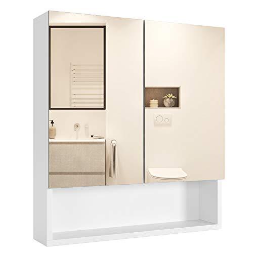 Homfa Bathroom Wall Mirror Cabinet with Double Doors and Adjustable Shelf, 20.8 -