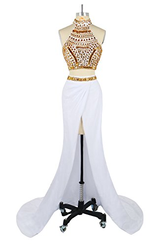 Oyeahbridal White Two Piece Mermaid Prom Dress High Slit Long Gold Rhinestone Beaded Evening Gown