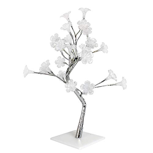 Simple Designs NL2007-CHR Morning Glory LED Lighted Decorative Tree, Silver (Tree Lamp Flower)