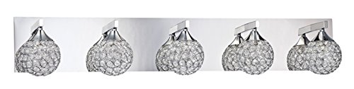 Kendal Lighting VF4200-5L-CH Crys 5-Light Vanity Fixture, Chrome Finish and Optic Crystal Jewel - Wall Vanity Sconces 5l