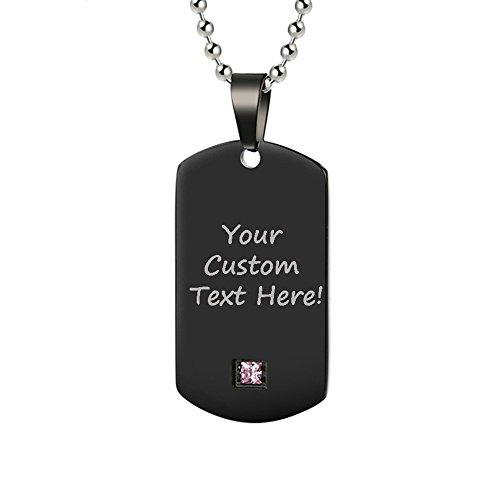 GAGAFEEL Personalized Custom Engraved Couple Friendship Family Necklace ID Tag Pendant Gemstone Love Gift (Black-Small) by GAGAFEEL
