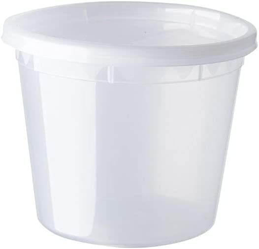 BUHAYA CARE 25 Clear Plastic Deli Containers with Airtight Lids, 24 Ounce | Stackable & Reusable Container | Freezer, Microwave & Dishwasher Safe | BPA-Free Food Storage (SET 25) (24 Ounce)