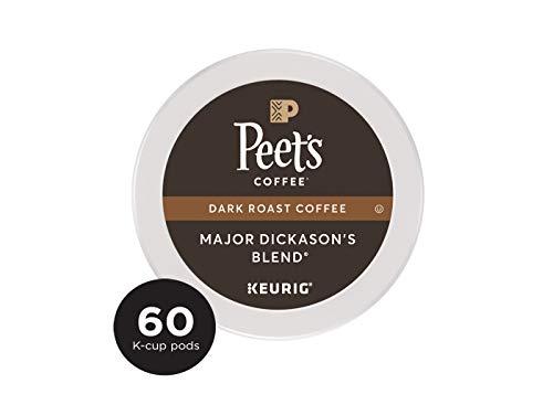(Peet's Coffee, Major Dickason's Blend, Dark Roast, K-Cup Pack,Single Cup Coffee Pods,10 Count, Pack of 6)