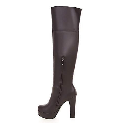 Chunky High 7 Platform US Heel M Heels ABL09751 Brown Knee Womens Boots B BalaMasa Urethane High n7qZWxtgw0