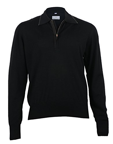 Cortigiani Men's Black Wool Polo Sweater with Leather details, size 48 (S)