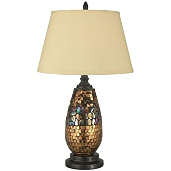 Exceptional Dale Tiffany PG10362 Antique Gold Mosaic Table Lamp, Dark Antique Bronze