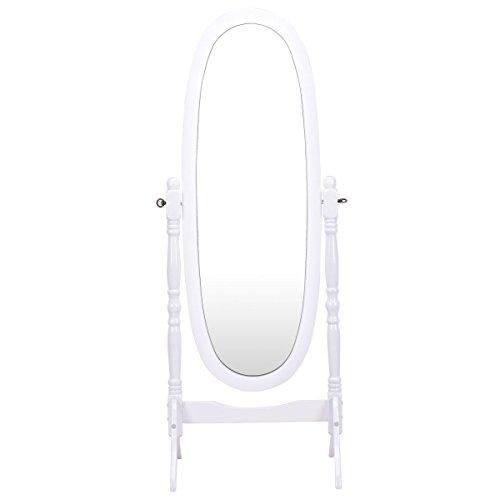 FDInspiration White Oval Full Length Swivel Dressing Mirror Floor Standing 57''H