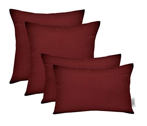 (RSH Décor Set of 4 Indoor/Outdoor Square & Rectangle Lumbar Throw Pillows Made of Sunbrella Canvas Burgundy (20