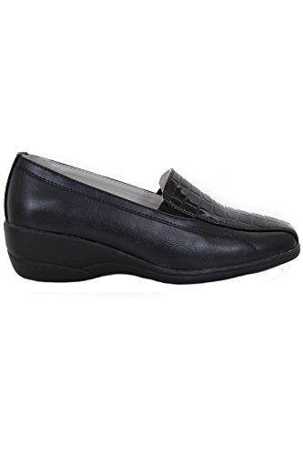 Tienda Zapato Cuero Tacón Ligero Deslizante Bajo Sapphire Imitación Plano Oficina Negro Charol Trabajo Mujer gfw6qU