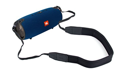 DURAGADGET Ultimate Comfort Adjustable Shoulder/Neck Strap JBL Xtreme Splash-Proof Portable Speaker - in A Stylish Classic Black Design with Faux Leather Detailing