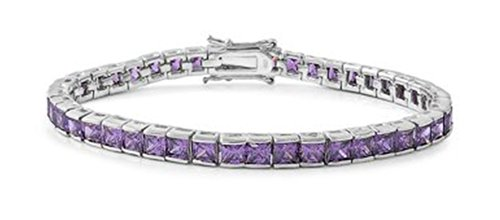 Sterling Silver Tennis Bracelet CZ with square charms - Purple - 7.5in by Zinga