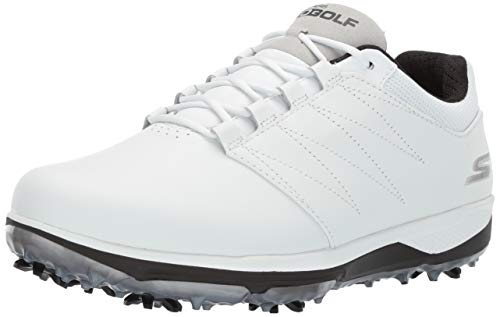 Skechers Men's Pro 4 Waterproof Golf Shoe, White/Black, 8.5 M US