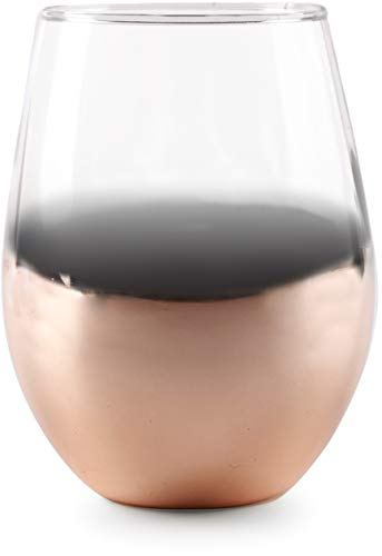 Circleware 76817 Rose Gold Ombre Stemless Wine Glasses Set of 4, Party Entertainment Dining Beverage Drinking Cup Glassware for Water, Beer, Juice, Liquor, Whiskey Bar Decor Gifts 18.5 oz,
