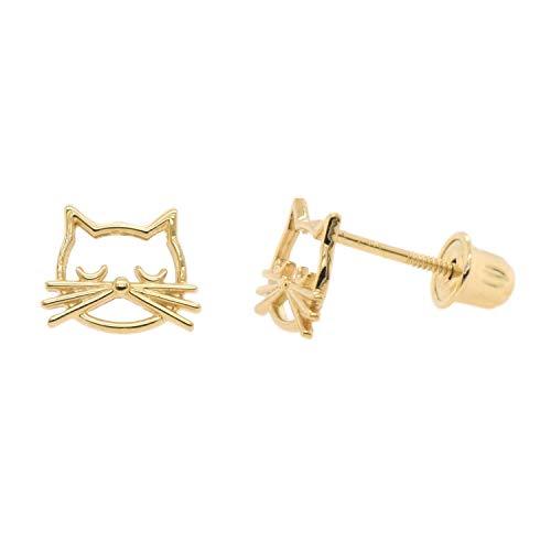 14k Solid Gold Cute Cat Studs Screw Back Earrings