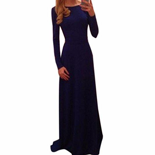 las mujeres del vestido de espalda v costura de cuello de algodon de manga larga de la cintura falda larga ocasional Azul