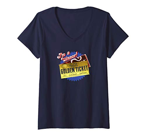 Womens Charlie and the Chocolate Factory Golden Ticket V-Neck T-Shirt (Charlie And The Chocolate Factory Inventing Room)