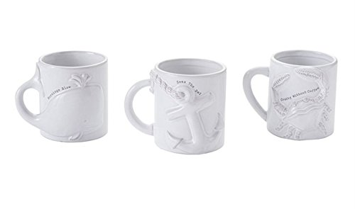 Mornings Blow Seas the Day Crabby Without Coffee Whale Anchor Crab Mugs Set of 3