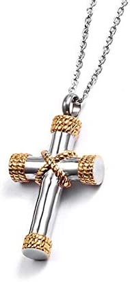 Inveroo Classic Cross Cremation Ashes Urn Necklace Keepsake Jewelry Stainless Steel Ashes Memorial Pendant