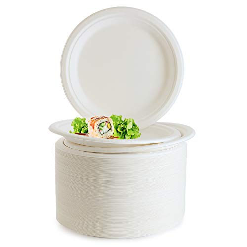 Biodegradable Compostable 9 inch Plates,-125 Pack- Eco Friendly Sugarcane/Bagasse, Disposable Paper Plate Safe for Hot and Cold Foods