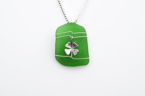 Genuine Green Sea Glass Necklace with a Silver Irish Clover Charm on a Sterling Silver Box (Genuine Beach Glass Necklace)