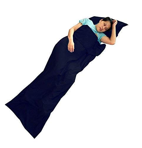 - ELLEN Lightweight Travel and Camping Sheet Warm Roomy Cotton Sleeping Bag Liner with Luxurious Space (Navy Blue Double-83 x59)