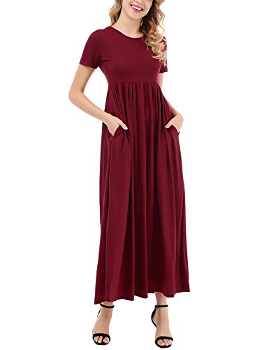 Women's Red Neck Wine Round Sleeve Maxi Uniboutique Long Plain Causal Pockets Dress Loose with Dress Short dwzx8Z0x6