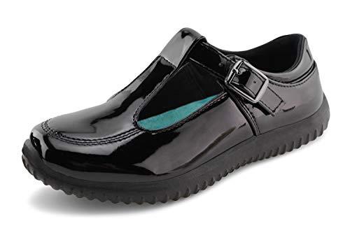 Jabasic Girls Mary Jane T-Strap School Uniform Flats Shoes (10,Black-6) ()