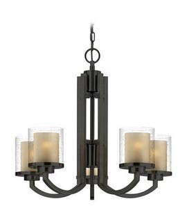 Dolan Designs 2950-78 Horizon - Five Light Chandelier, Bolivian Bronze Finish with Clear Seedy/Honey Amber Glass