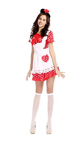 Bulacker Female Halloween Mickey Mouse Disney Princess Dress,White&Red,One size (Cute Female Clown Costumes)