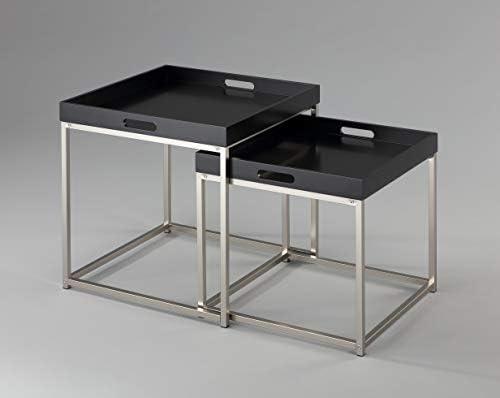 Koop Het Beste DuNord Design bijzettafeltje, 2-delige set, zwart en chroom, metaal, tablettafel  xL8KwW9
