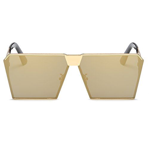 Sunglasses Square CVOO Flat Oversized Top Sunglasses Frame Gold Metal TTprgn