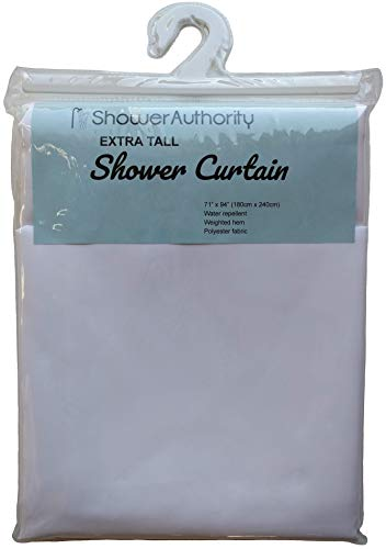 (Extra Tall Soft Fabric Shower Curtain, by ShowerAuthority, White, 71