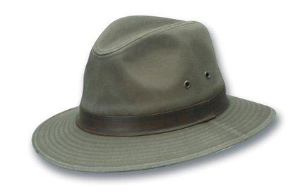Scala Canvas Hat - Dorfman Pacific Men's One-Piece Canvas Faux Leather-Trim Safari Hat,Olive,X-Large