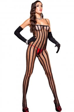 aff8247a3df Black Sheer Vertical Striped Bodystocking Size 8-12  Amazon.co.uk  Clothing