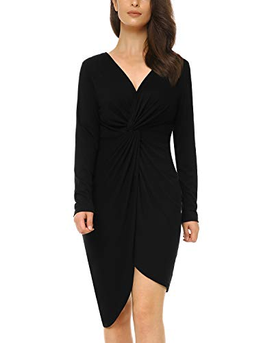 Mixfeer Womens V Neck Bodycon Midi Dress Long Sleeve Draped Knotted Dress Wrap Party Dress Twist Front Invisible Button