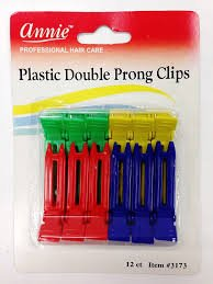 (PACK OF 6) ANNIE PLASTIC DOUBLE PRONG CLIPS #3173