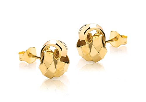 Or jaune 9 ct 11 mm Noeud Boucles d'oreille à tige