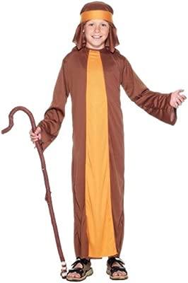 Smiffys Disfraz de pastor, Marrón, con túnica y adorno para la cabeza