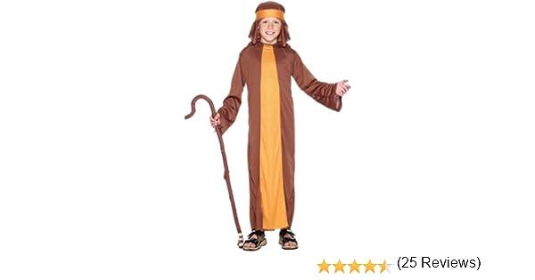 Smiffys- Disfraz de Pastor, Marrón, con túnica y Adorno para la ...