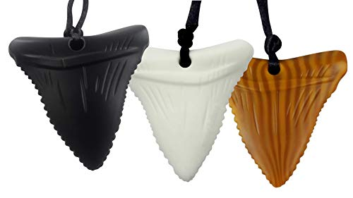Mommy's Touch 3-Pack Shark Tooth Silicone Chews - Gender Neutral Teething Necklace for Children - Oral Sensory Chewy Teether Necklaces for Autistic Chewers - Chewelry for Baby Boys and Girls