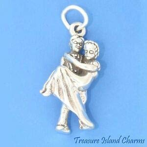 Harissa Bride and Groom Wedding 3D 925 Solid Sterling Silver Charm Made in USA Crafting, Bracelet Necklace Jewelry Findings Jewelry Making Accessory